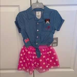 NWT Disney crop top and polka dot tutu skirt
